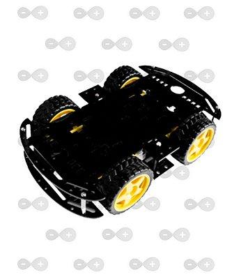 KIT CHASSI 4WD 4 RODAS COM MOTORES BASE PRETA ACRÍLICO 3 MM