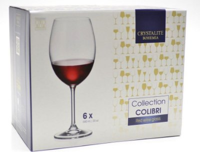 Jogo com 06 taças em cristal, para vinho 580ml - Bohemia colibri