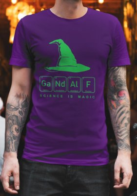 Camiseta Masculina - Science is Magic - Gandalf