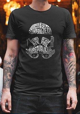 Camiseta Masculina - Capacete Stormtrooper Letras - Star Wars