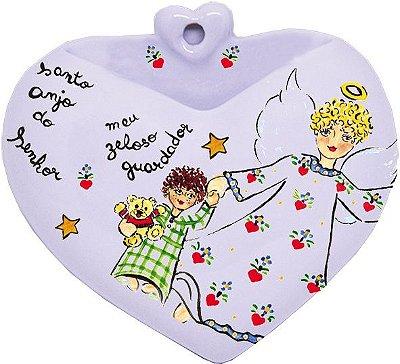 Vaso de Parede Coração Anjo da Guarda - Santeiro