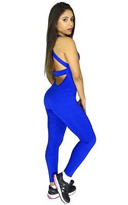 Macacão com Bojo Suplex Liso Azul Royal