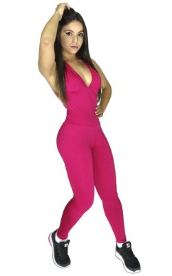 Macacão Fitness com Bojo Suplex liso Rosa