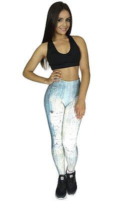 Calça Legging Jeans Sublimada Branca