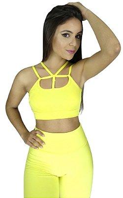 Top Tiras Strappy Fitness Amarelo