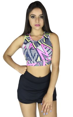 Top Cropped Estampado com Corte a Laser
