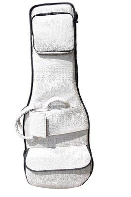 Capa Bag para Guitarra Couro Reconstituído Branco Croco Amazon