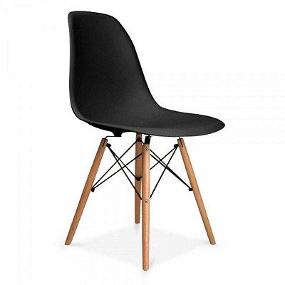 Cadeiras Charles Eames Wood Base Madeira - PRETO