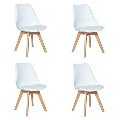 Conjunto com 4 Cadeiras Saarinen Wood Branca