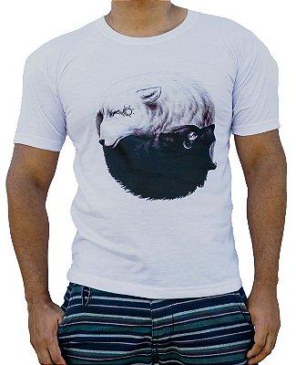 Camiseta masculina lobo sol e lua