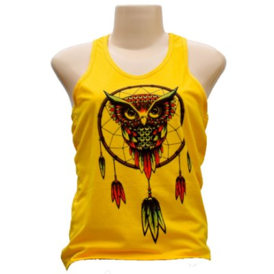 Camiseta feminina regata coruja filtro dos sonhos