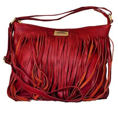 Bolsa em couro legítimo com franja cor vermelho