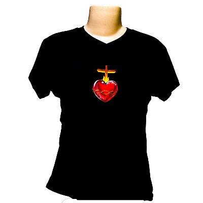 Camiseta baby look Sagrado Coração de Jesus