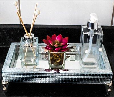 Bandeja espelhada com kit lavabo (porta sabonete liquido+vaso decorativo+difusor de ambiente)