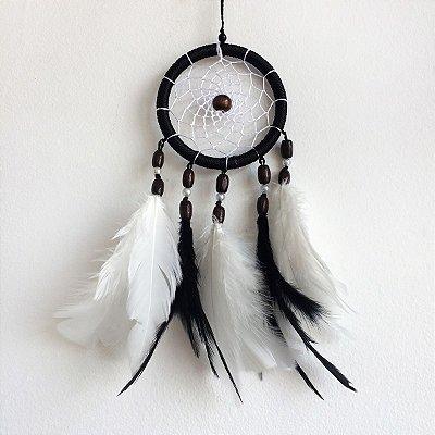 Filtro dos Sonhos Pequeno (9cm) Preto com branco