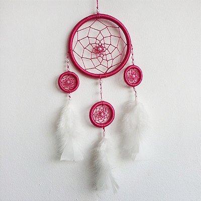 Filtro dos Sonhos Médio (12cm) com 3 Mini Filtros (4cm) Rosa com branco