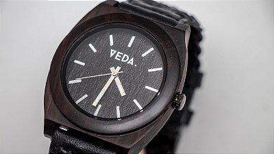 Relógio de Madeira - MERO BLACK // COURO
