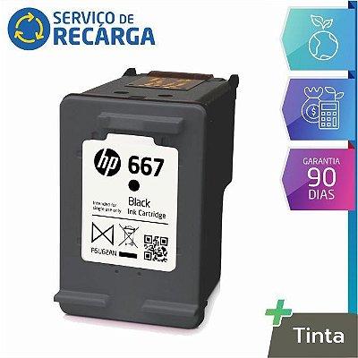 Recarga Cartucho Hp 667 Preto 3YM79AL - Deskjet Ink Advantage 2376 2774 2776 6476