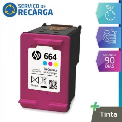 Recarga de Cartucho Hp 664 Color F6V28AB - Deskjet 2136 2676 3636 3776