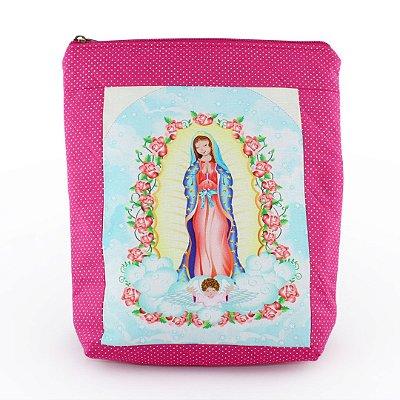 Case/Bolsa em tecido Nsa. Sra. Guadalupe de bolinhas