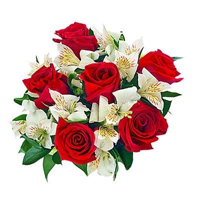 Buquê com 06 Rosas Colombianas Vermelhas e Mic com Astromélias
