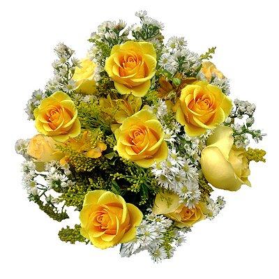 Buquê com 12 Rosas Amarelas Nacionais