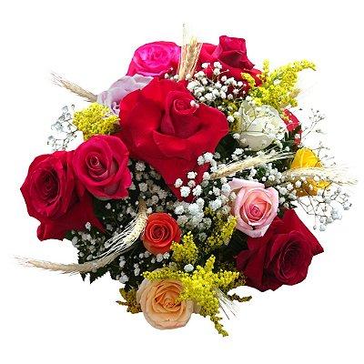 Buquê com Rosas Colombianas e Nacionais