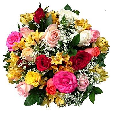 Buquê com 18 Rosas Coloridas Nacionais e Astromélias