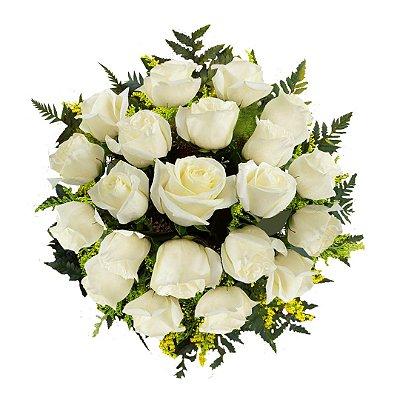 Buquê com 21 Rosas Brancas