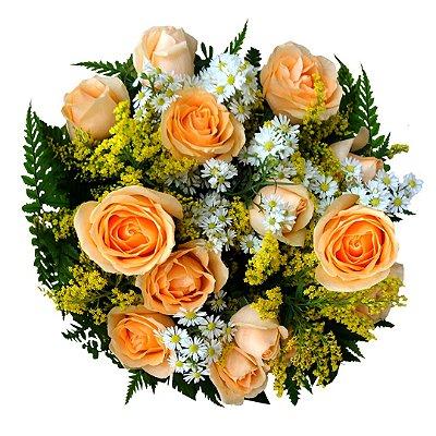 Buque com Rosas champanhe (12 Rosas)
