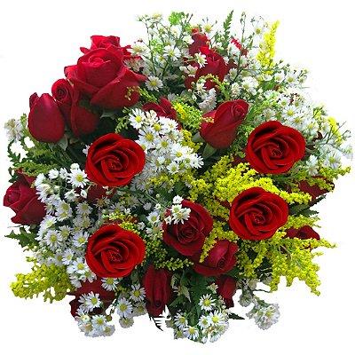 Buquê com 24 Rosas Vermelhas
