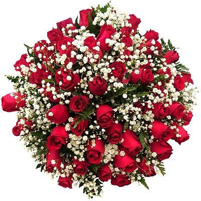 Buquê com 50 Rosas Nacionais Vermelhas