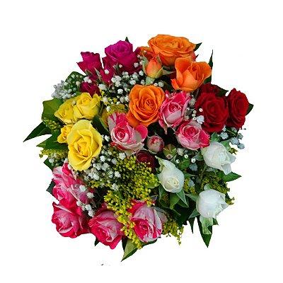Mini Buquê com Mini Rosas Mistas