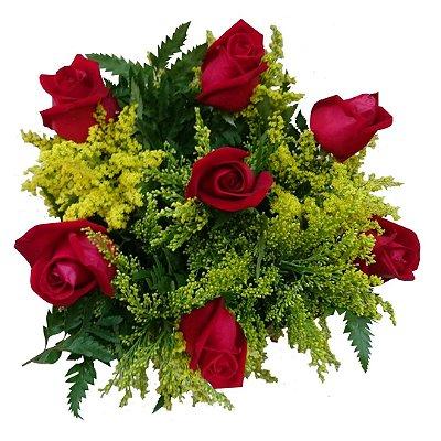 Buquê com 7 Rosas Nacionais