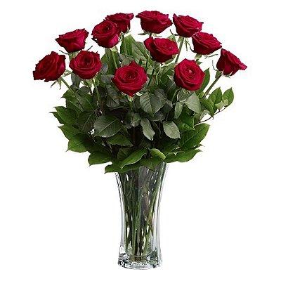 Arranjo com 12 Rosas Colombianas Vermelhas no Vidro