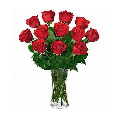 Arranjo com 12 Rosas Nacionais Vermelhas no Vidro