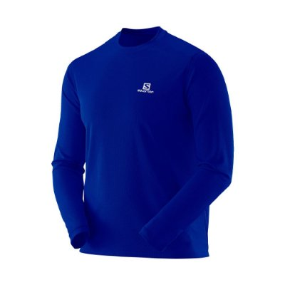 Camiseta Manga Longa Masculina Salomon Sonic UV50 Azul