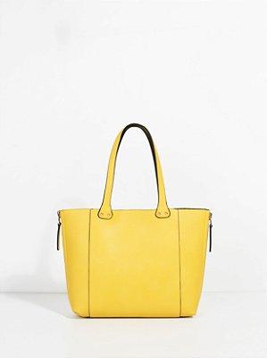 Bolsa Grande Parfois de Couro Ecológico Amarela Reversível