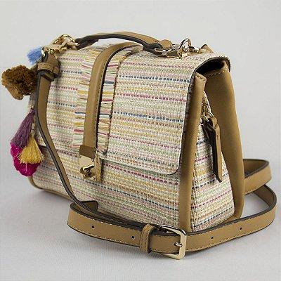 Bolsa Pequena Parfois Tiracolo de Palha Com Detalhes em Couro Ecológico