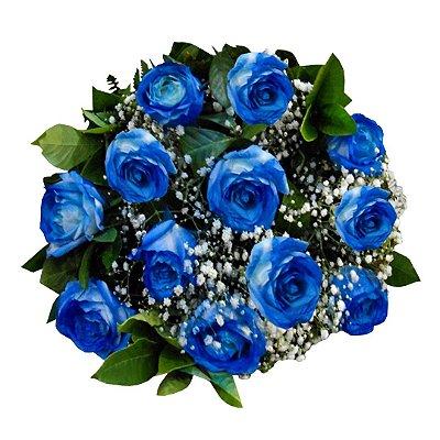 Buquê com 12 Rosas Azuis Nacionais em Degradê