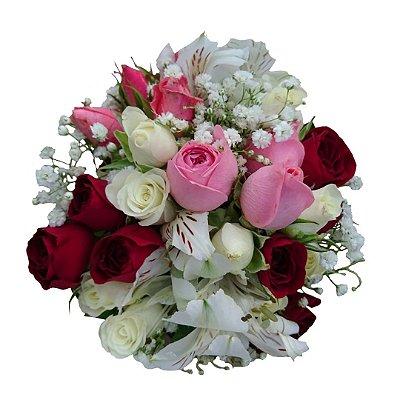 Mini Buquê com Mini Rosas Coloridas e Astromélias