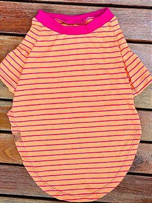 Camiseta Para Cachorro- Listras Rosa