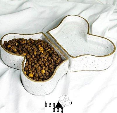 Conjunto em Cerâmica Ossinho para Cachorro