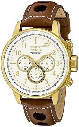 "Relógio Invicta masculine Modelo 16011 S1 ""Rally"" 18k Dourado com Pulseira de Couro"