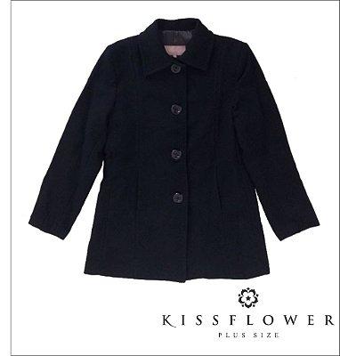 Casaco Plus Size de Lã Batida