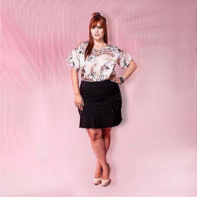 Blusa Plus Size de Cetim Floral