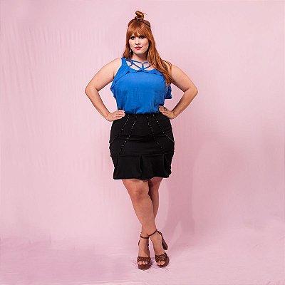 Saia Bordada com pregas - Plus Size