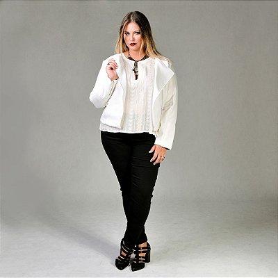 Jaqueta de Tweed com Detalhes em Couro Ecológico