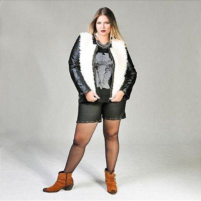 Jaqueta de Couro Ecológico com Pele Plus Size
