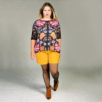 Shorts de Tweed com guipure - Plus Size